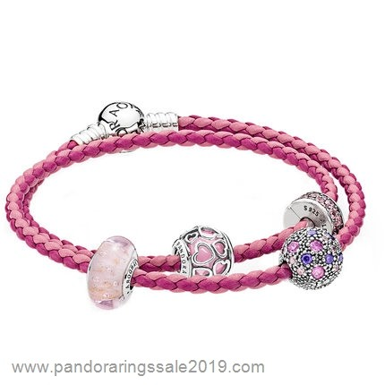 Pandora Store Prices Pandora Gifts Pink Bracelet Of Braided Leather Bracelets