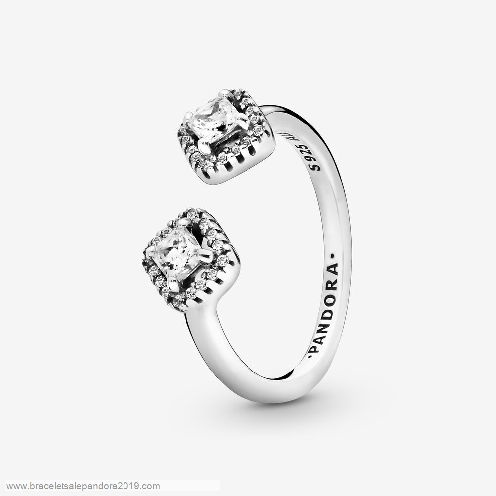 Pandora Store Prices Square Sparkle Open Ring