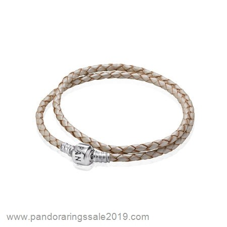 Pandora Store Prices Pandora Bracelets Leather Champagne Braided Double Leather Charm Bracelet