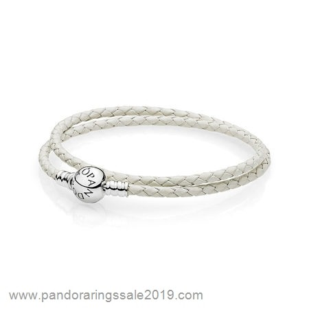Pandora Store Prices Pandora Bracelets Leather Ivory White Braided Double Leather Charm Bracelet