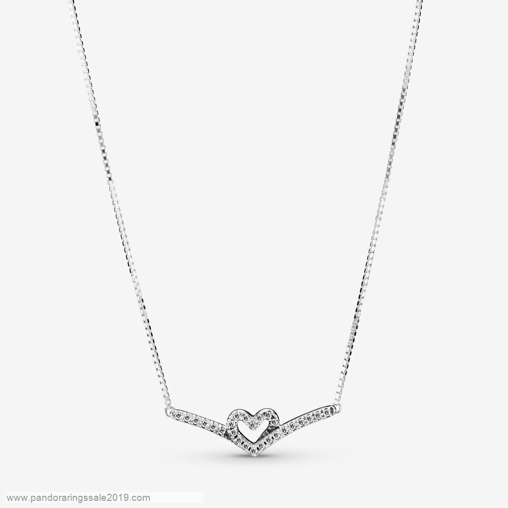 Pandora Store Prices Sparkling Wishbone Heart Collier Necklace